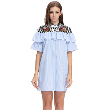 Sexy Slash Neck Blue Stripe Dress Short Sleeve Ruffle Fishtail Off Shoulder Dress