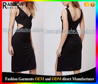 latest party wear ribbed v neck dresses with front split for girls
