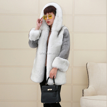 2017 Fashion Apparel Mink Fur Sleeves Jacket Fox Fur Coat for Women