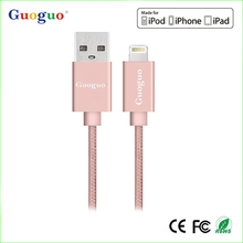 Authorized MFi Manufacturer 1M 3ft braided 8 pin usb MFi certifie cable,2.4A High Speed Charge Data Sync braided Cable