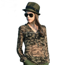 OEM factory V neck transparent camouflage ladies long sleeve chiffon blouse