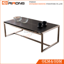 Black Leather Covered MDF Modern Coffee Table with Stainless Steel