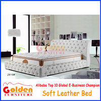 Tufted designs queen size soft bed frame with crystal 2819