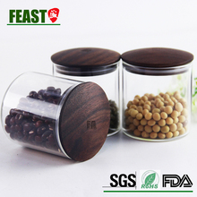 FEAST new glass nuts storage jar with mushroom shape bamboo lid