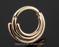 14k yellow and rose gold three ring gold ear tops designs circus clicker