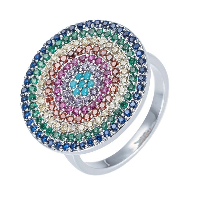 Wholesale Classic Design Round Red Circular Spinel Diamond Button Ring