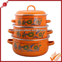 3pcs 3 IN 1 enamelware casserole pot custom design cookware sets with decal porcelain enamel cookware set