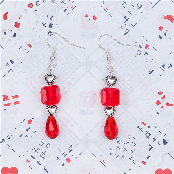 New Fashion Cheap Jewelry Antique Silver Heart Glass Red Square Teardrop Beads Handmade Earrings