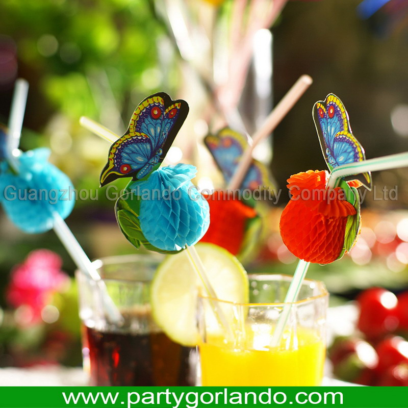 Design customized butterfly drinking party straw