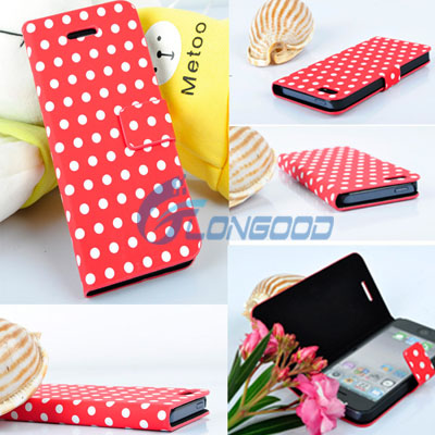 Flip Stand Polka Dot PU Leather Folio Book Case Cover For iPhone 5 5G