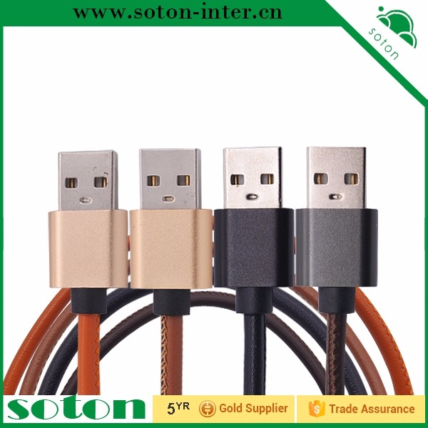 mobile phone use pu leather snyc data charger cable electrical cable wire 10mm for Iphone