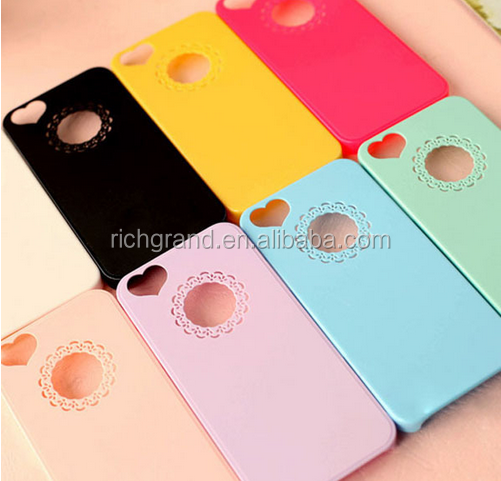 Wholesale Cute candy Color Loving Heart shape Hard Phone Case Cover For iPhone 4 4S 5 5S SE 6 6S