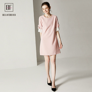 Classic Style Pink Color Short Puff Sleeves With Pleats Short Sleeve Chiffon A-line Women Dress