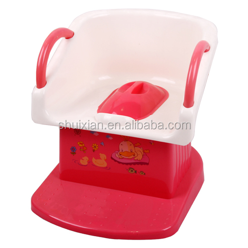 Hot selling square shaped chair style preschool plastic baby potty with double handle BN7203