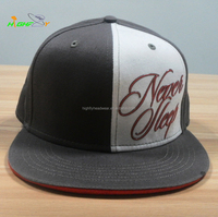 OEM service custom rubber printed 6 panel flat brim fitted snapback cap