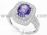 3.00 Cts Tanzanite with Diamond Accent ring