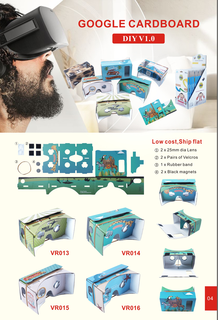 2017 CUSTOM DIY virtual reality glasses VR1 cardboard google 3d vr glasses DYI for students
