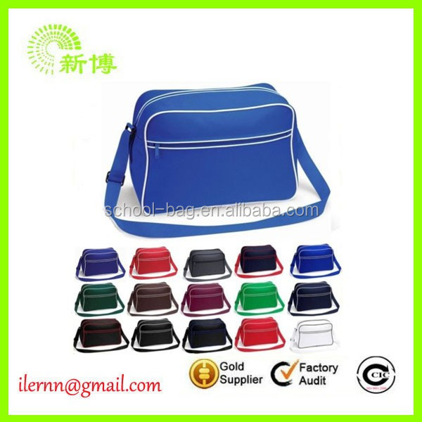 cheap polyester many colors messenger school bag
