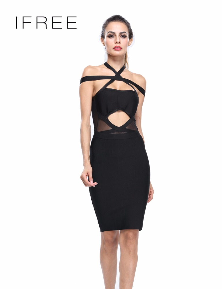 Korean Dresses Women Halter Off Shoulder Sexy Fashion Evening Party Bandage And Mesh Dresses 2016