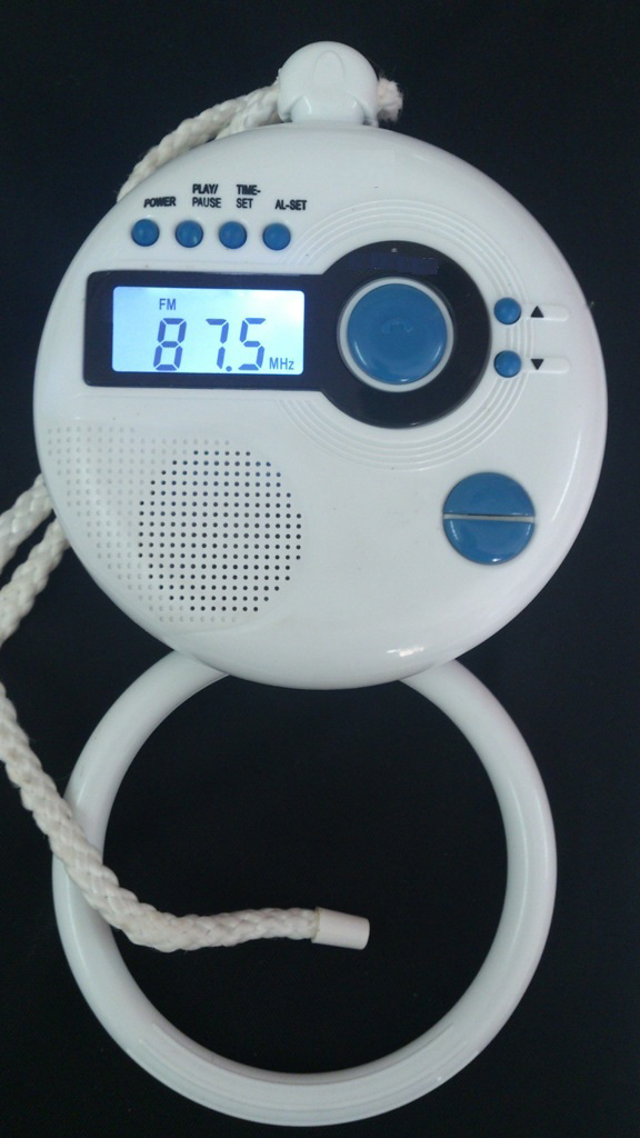 Shower radio with digital LCD clock and Blue-tooth player