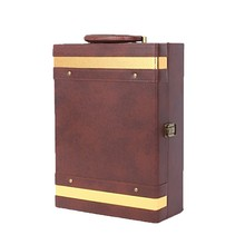 special customized wine gift box, wine bottle package, wine bag wholesale pu leather Handmade Vintage wine carrier