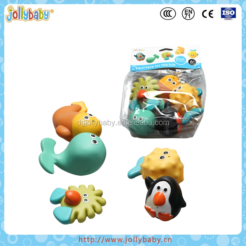 Jollybaby Wholesale Baby Summer Toys And Waterproof Cute Cartoon Animals Plastic Baby Bath Toy