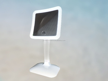 Square led lighted table top makeup mirror with 7x magnification battery operated