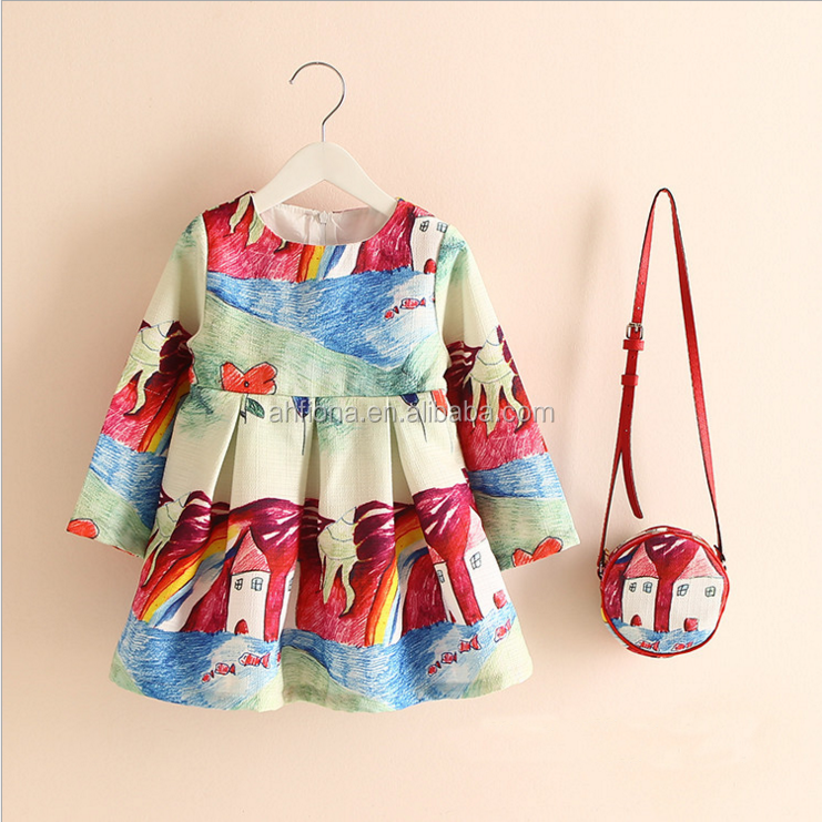 F10302A Wholesale new style spring/autumn girls' dress with purse