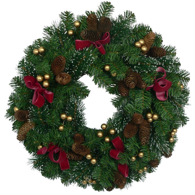 "22"" Door Wreath With Pine needle And Red Bow Christmas Wreath"