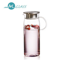 wholesale 1300ml glass drinking water pot with handlewith lid handmade glassware N6327