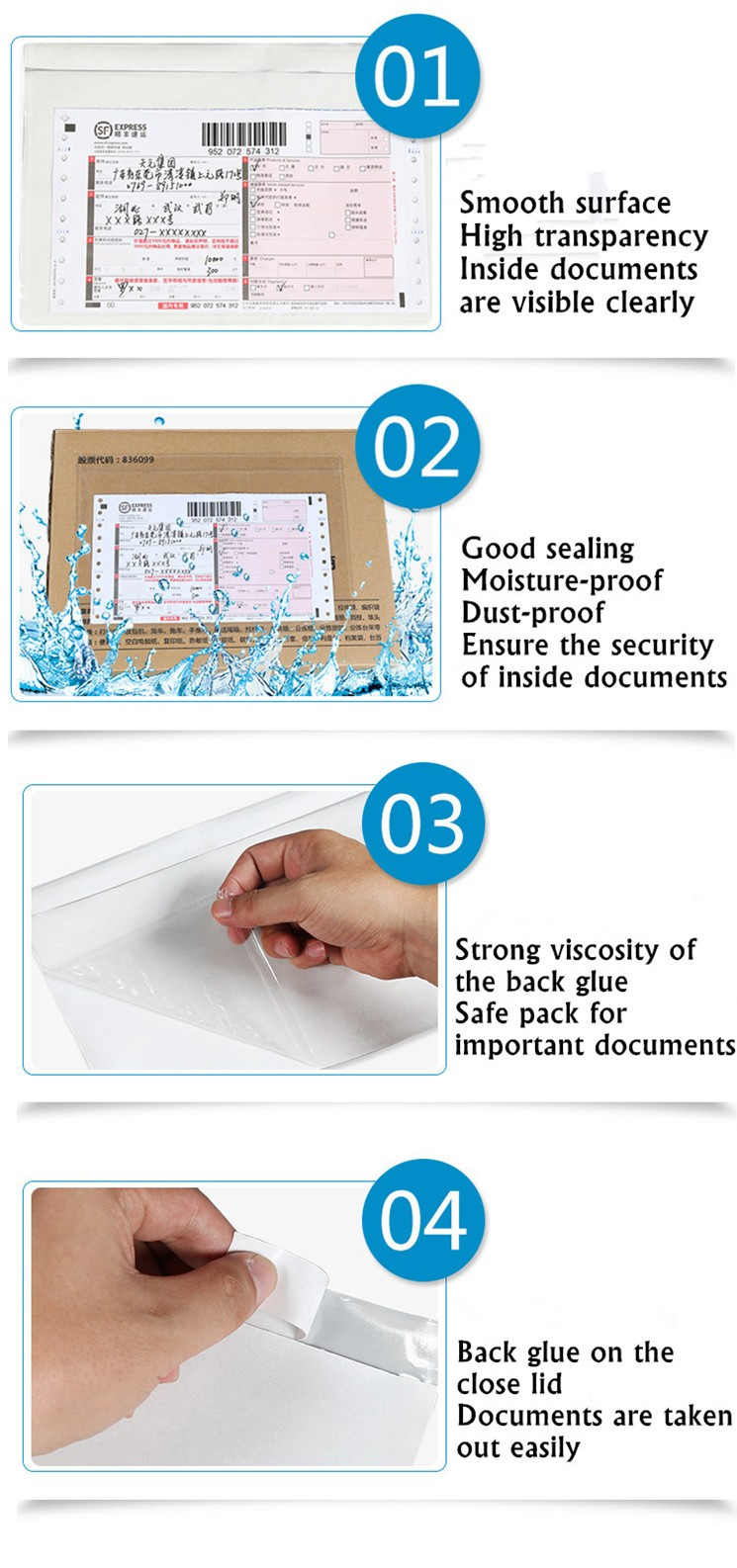 Custom printing plastic adhesive packing list envelope