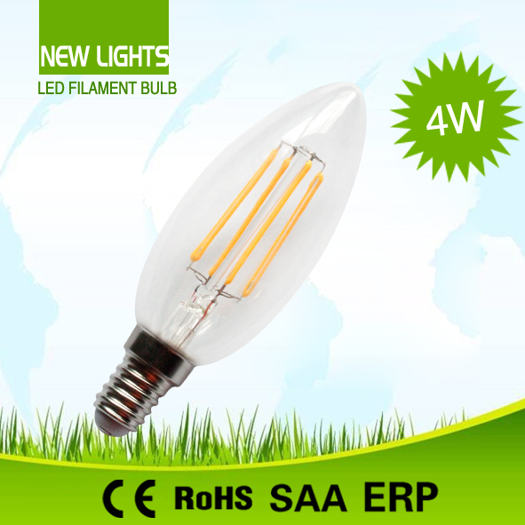 CE 220V 360 Degree 2W 3W 4W E27 Clear/Frost Glass A60 Lamp LED Light Edison LED Filament Lighting Bulb Candle