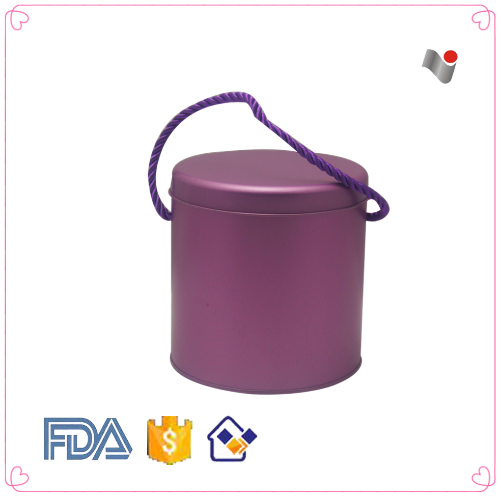 Cylinder Shape Purple Color Tin Canister With Lid
