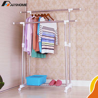 Dual pipe cloth pole hanger,Portable stainless steel clothes pole hanger,Extendable garment rack on wheels