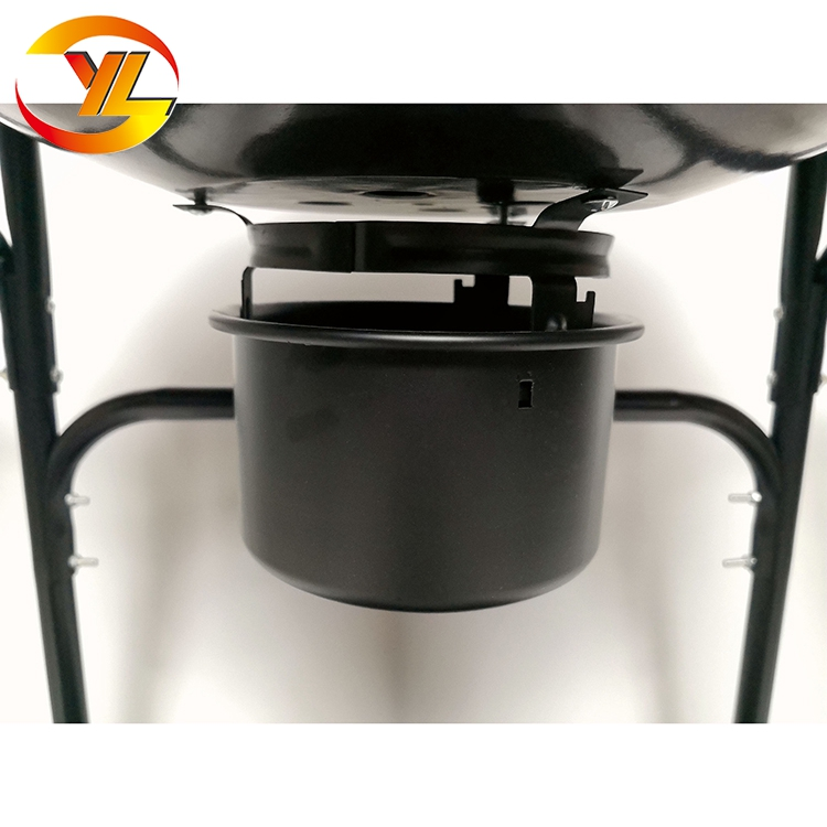 Black Trolley Kettle Charcoal Bbq Grill With Two Panel