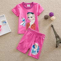 2-6Y (D4333B#PINK and BLUE)Kids Summer Clothes for girls home wear trousers and t shirt Frozen sets