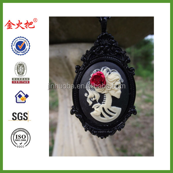 Noir Belle Morte Skeleton Cameo On Black Resin Victorian Pendant Necklace