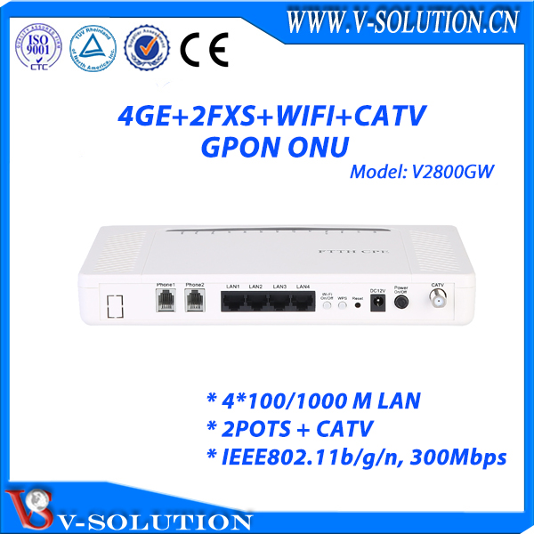 4GE + 2FXS + CATV + WIFI Triple Play GPON ONU Equipment FTTH ONT