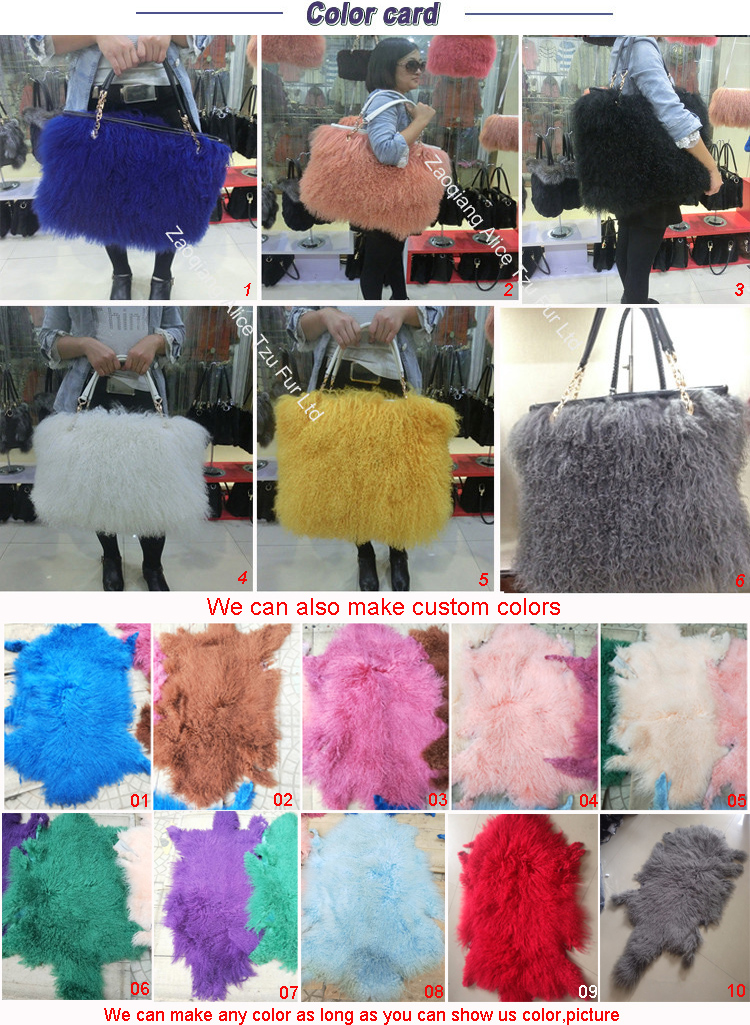 China wholesale genuine leather sheep bag Mongolian lamb real fur handbags for women