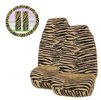 5 Piece Universal Fit Tan Brown Zebra Tiger Print Front Bucket Seat Cover