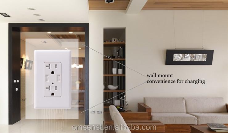 ETL List 4.2A 15A/20A 125V TR USB Wall Ssocket Usb Outlet Electrical Receptacle Wall Mounted For Mobile Phone Charging
