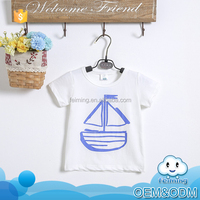 Bulk wholesale white light baby clothes sailing boat style short sleeve cool fancy boys kids t-shirts design