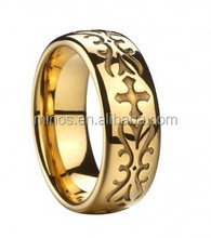 Celtic Goldplated Tungsten Ring with Engraved Crosses