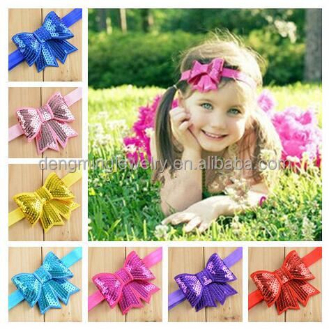 Retail 20pcs A lot Cheap Toddler Girls Headband Infant Bow Sequin Headwear Baby Newborn Hairband Kids Jewelry Hair!!
