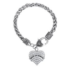 silver crystal maid of honor chain bangle bracelet