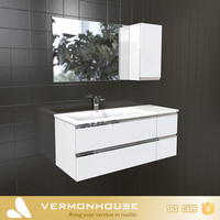 2018 Hangzhou Vermont European Modern Style Cheap Mirror Bathroom Furniture Cabinet With Bath Vanity Top