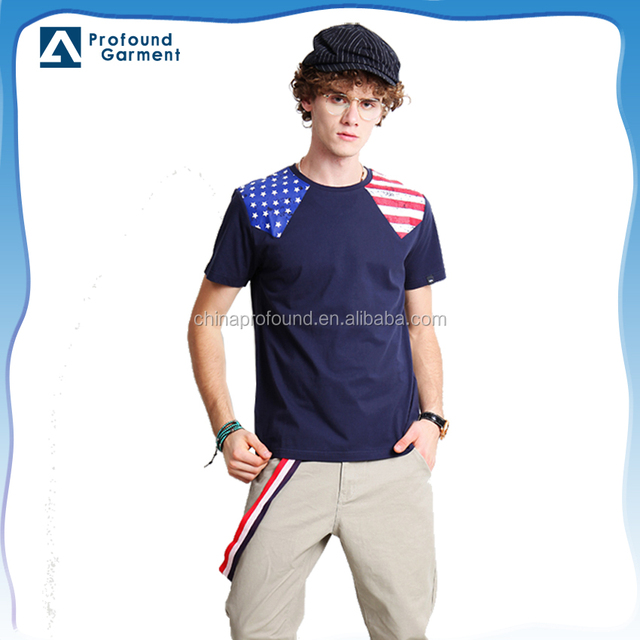 fashionable chinese plain round neck man to man fancy design wholesale striped flag easy printed t-shirt cotton specification