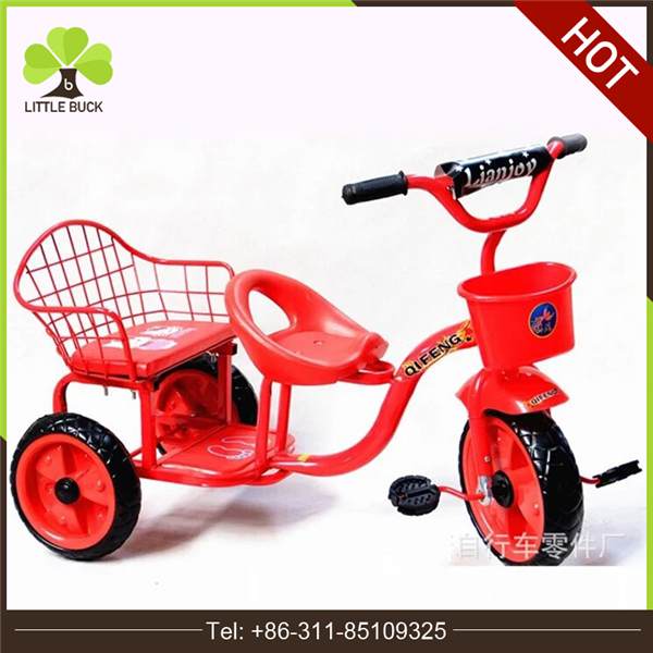 Newly style two seat tricycle for young kids ride on toy cheap price baby twins tricycle double seat kids trike for sale