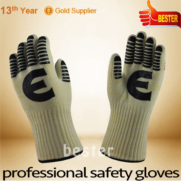 Silicon Rubber Aramid Fiber High Temperature Resistant BBQ Glove