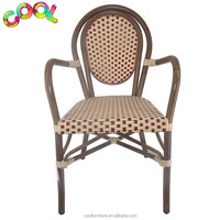 Bamboo Looking Outdoor Side Aluminum Wicker Rattan Bistro Used Stacking Chairs